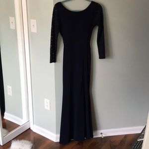Navy Blue Sequined Party Dress